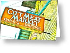 Meat On The Market Greeting Card