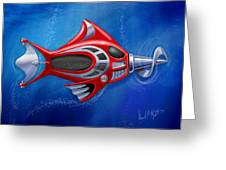 Mechanical Fish 1 Screwy Greeting Card by David Kyte