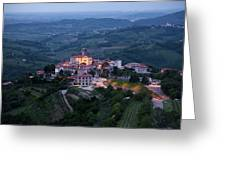 Medieval Hilltop Village Of Smartno Brda Slovenia At Dawn In The Greeting Card