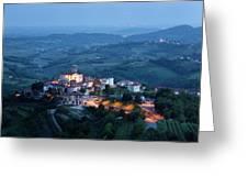 Medieval Hilltop Village Of Smartno Brda Slovenia At Dusk With S Greeting Card