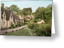 Medieval Houses In Arlington Row In Cotswolds Countryside Landsc Greeting Card