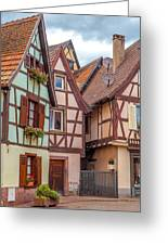 Medieval Houses In Ribeauville  Greeting Card