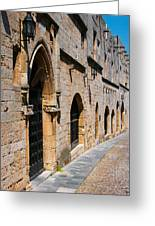 Medievil Town In Rhodes Greeting Card by Sandra Bronstein