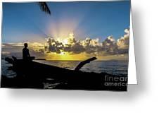 Meditating At Sunrise Greeting Card
