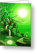 Meditating While Cherry Blossoms Fall In Green Greeting Card