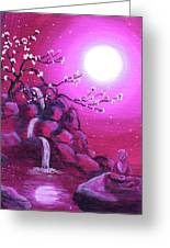 Meditating While Cherry Blossoms Fall Greeting Card