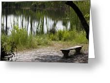 Meditation Spot By A Pond Greeting Card
