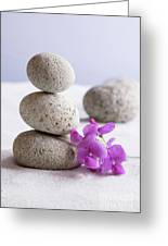 Meditation Stones Pink Flowers On White Sand Greeting Card