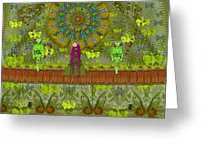 Meditative Garden Got Visit Of Lady Panda And The Floral Skulls Greeting Card