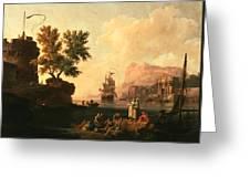 Mediterranean Harbor Scene Greeting Card