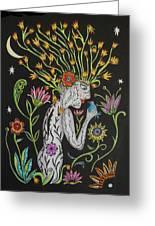 Medusa De Flores Greeting Card
