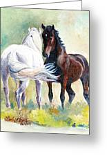 Meet And Greet Greeting Card by Linda L Martin