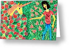 Meeting In The Rose Garden Greeting Card