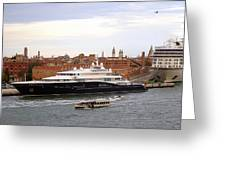 Mega Luxury Yacht The Carinthia Vll In Venice, Italy Greeting Card