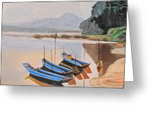 Mehkong Fishing Boats Greeting Card