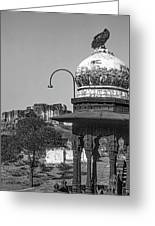 Mehrangarh Fort - Approach With Caution Bw Greeting Card