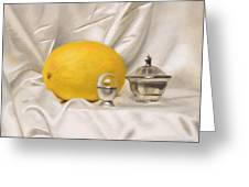 Melon On White Silk Greeting Card
