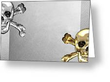 Memento Mori - Gold And Silver Human Skulls And Bones On White Canvas Greeting Card