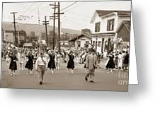Memorial Day Parade Ashley Pa With Train Station And The Huber Colliery In Background 1955 Greeting Card