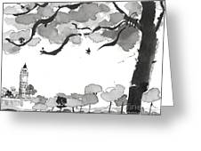 Memories Spirited Tree And Architecture Greeting Card