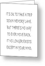 Memory Lane Poem Greeting Card