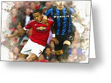 Memphis Depay Of Manchester United In Action Greeting Card