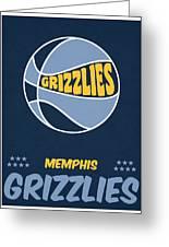 Memphis Grizzlies Vintage Basketball Art Greeting Card