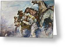 Men And Horses Battling A Storm Greeting Card by James Edwin McConnell