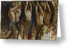 Men At An Anvil, Study For The Spirit Of Vulcan Greeting Card