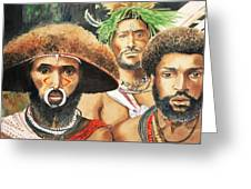 Men From New Guinea Greeting Card by Judy Swerlick