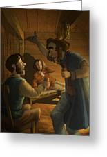 Men In A Hut Greeting Card