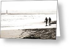 Men On Beach Greeting Card