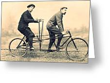 Men On Dual Bicycle, Cca 1900 Greeting Card