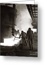 Men Working Blast Furnace At Steel Greeting Card