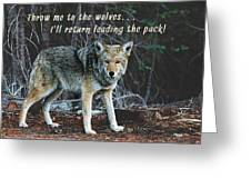 Menacing Wolf In The Woods Lead The Pack Greeting Card