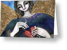 Mender Of Hearts Angel Greeting Card by Prerna Poojara