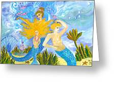 Mer Mum And Comb Greeting Card