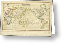 Mercator's Chart Greeting Card