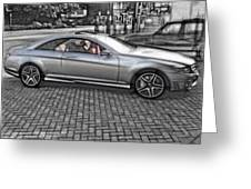 Mercedes Amg Black And White Greeting Card