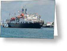 Merchant Marine Training Ship Kennedy And Tugboats Greeting Card