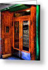 Merchants Cafe Doors Greeting Card