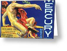 Mercury Greek God Label Greeting Card