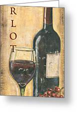 Merlot Wine And Grapes Greeting Card