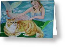 Mermaid And Cat Greeting Card
