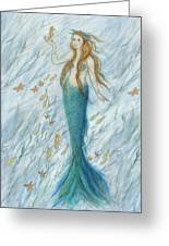 Mermaid And Her Golden Seahorse Greeting Card