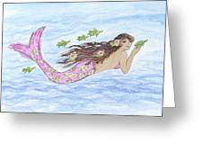 Mermaid And Her Sea Turtle Greeting Card
