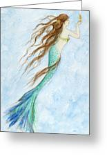Mermaid And Her Seahorse Greeting Card