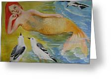 Mermaid And Seagulls Greeting Card