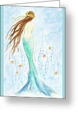 Mermaid In Her Garden Greeting Card