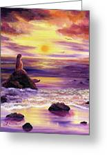 Mermaid In Purple Sunset Greeting Card